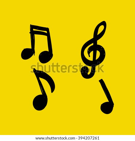 Vector Set of Hand-drawn music notes on yellow background, doodle illustration