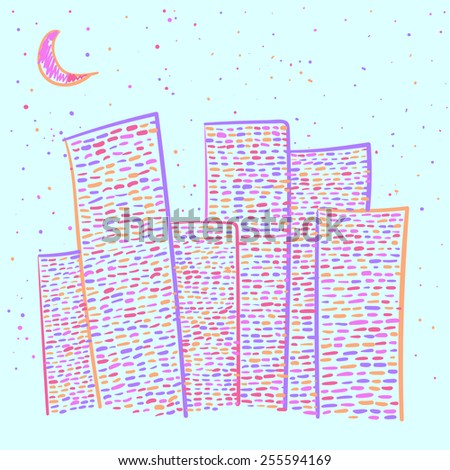 Vector set of hand-drawn night city on a blue background - stock vector