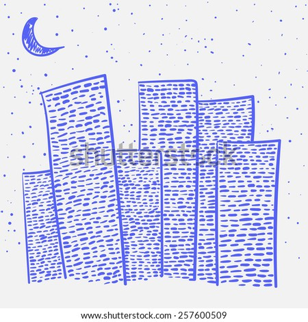 Vector set of hand-drawn night city on a white background - stock vector