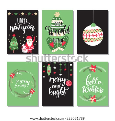 Vector set of hand drawn of Christmas greeting cards. Great print for invitations, posters, tags. Merry Christmas. Hello winter. Happy New Year. Festive banners in flat cartoon style,colorful colors