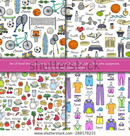 Vector set of hand drawn patterns on the theme of healthy lifestyle with sports equipment, sportswear and proper nutrition on white background. Sketches for use in design - stock vector