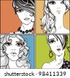 vector set of hand drawn  portraits - stock vector