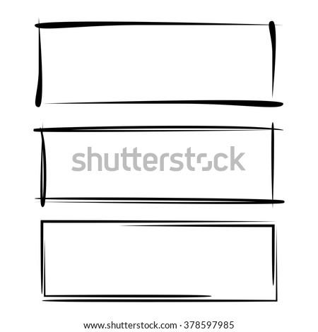 vector set of hand drawn sketch frames - stock vector