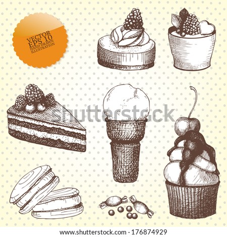 Vector set of hand drawn sweet and pastry in vintage colors