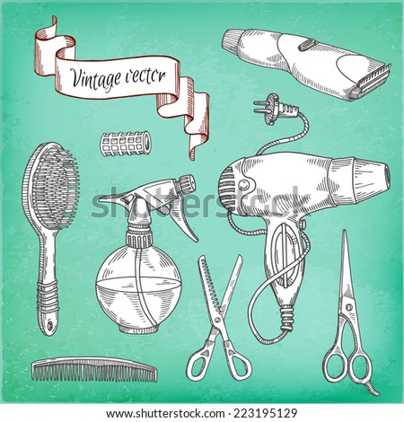 vector set of hand drawn Tools for hairdresser - stock vector