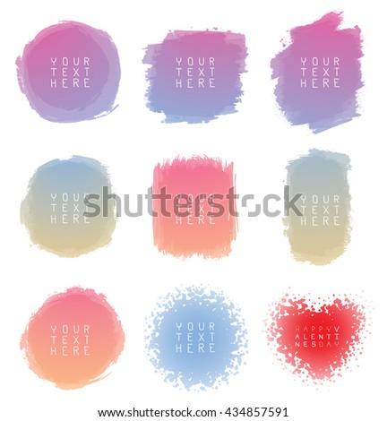 Vector set of hand-drawn watercolor brush strokes of different shapes and colors on a white background. Brush smear stain texture. Figured brush strokes. Watercolor vector background.