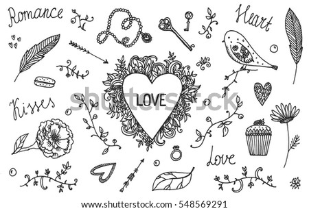 Vector set of hand-drawn Wedding elements, Valentine's Day. Set of Ornamental Romantic Style Elements. Arrows, heart, text, bird, lettering, florals and other elements