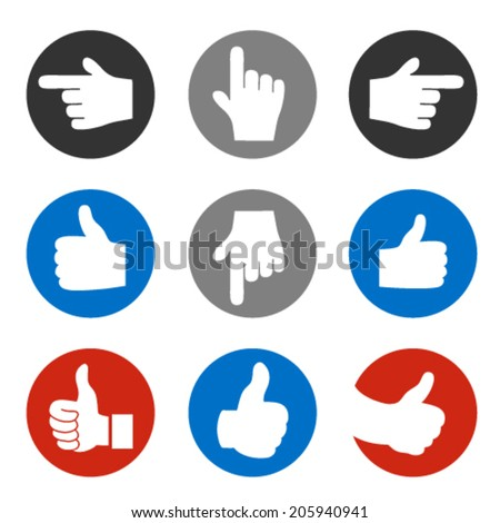 Vector set of hand gesture, rounded button - best choice symbol, next, more sign - stock vector