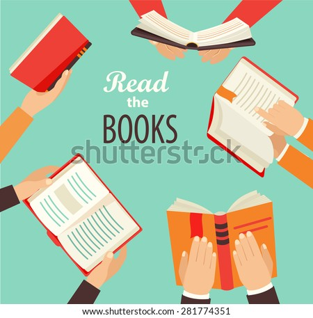 Vector set of hand holding books - icons in flat retro style. - stock vector