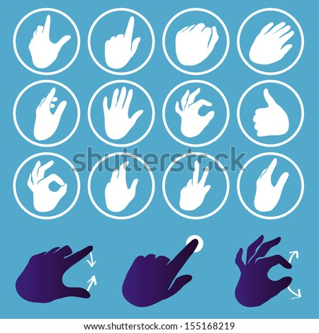 Vector set of hand icons - touchscreen interface illustration - stock vector