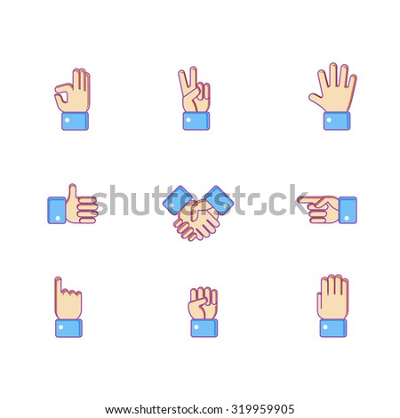 Vector set of hand icons. Victory sign, ok, pointing, cursor, palm, like, handshake and other finger symbols.