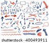 VECTOR set of hand-sketched icons. Elements for text correction or planning in blue and red colors. Hand-drawn arrows. Blue and red colors.  - stock vector
