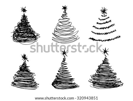 vector set of hand sketches Christmas trees - stock vector
