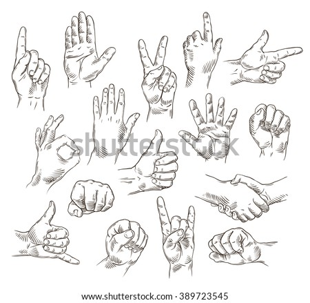 Vector set of hands and gestures - outline illustration - stock vector