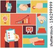 Vector set of hands - clients purchasing work in flat retro style - stock photo