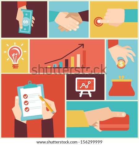 Vector set of hands - clients purchasing work in flat retro style - stock vector