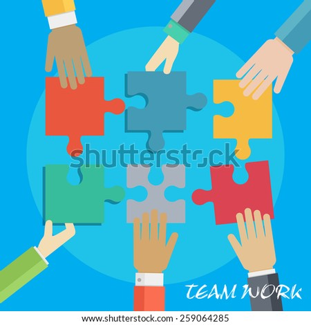 Vector set of hands putting puzzle together. Team work illustration. Business partnership idea. Flat style concept. Group connection - stock vector