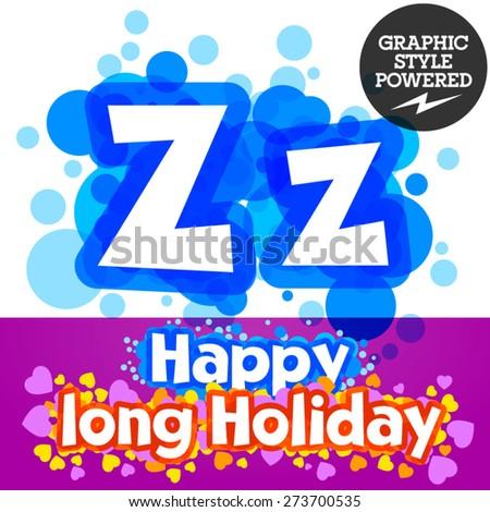 Vector set of happy festive motley alphabet. Letter Z - stock vector