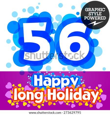 Vector set of happy festive motley alphabet. Numbers 5 6 - stock vector