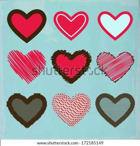 Vector. Set of hearts for Valentine's day - stock vector