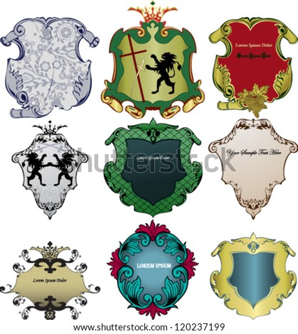 Vector. Set of heraldic Royal Crests. - stock vector