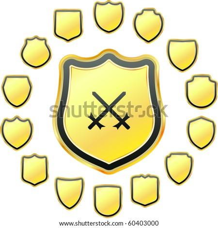 Vector set of heraldic symbols - stock vector