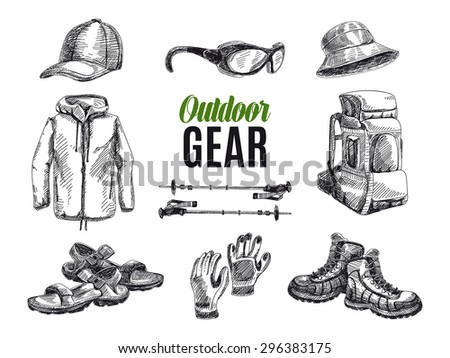 Vector set of highly detailed hand drawn camping stuff. Vintage signs collection. - stock vector