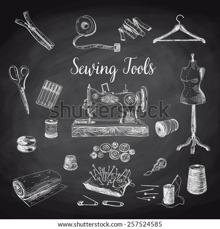 Vector set of highly detailed hand drawn sewing and knitting tools. Vintage signs collection.Chalkboard. - stock vector