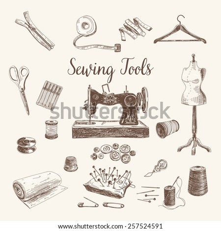 Vector set of highly detailed hand drawn sewing and knitting tools. Vintage signs collection. - stock vector