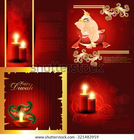 vector set of hindu festival diwali background with decorated diya, candle with floral and lord ganesha illustration - stock vector