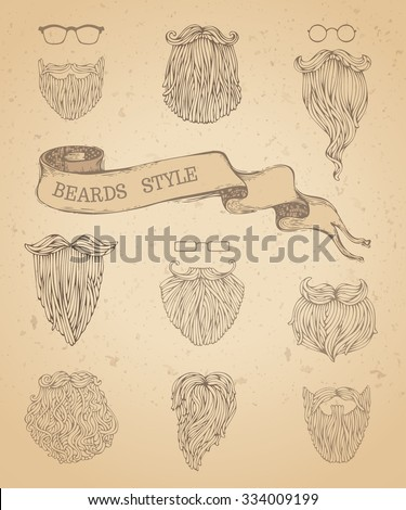 Vector set of hipster beards and eyeglasses. Fashion hand-drawn sketch vintage illustration. Retro template. - stock vector