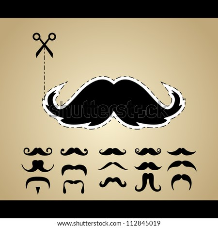 Vector set of hipster mustache - stock vector