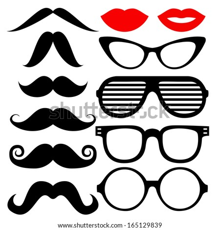 Vector set of hipster mustache with glasses, heart and lips - stock vector