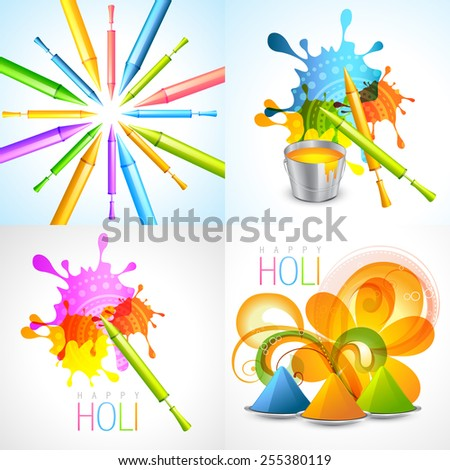 vector set of holi background with pichkari and gulal illustration - stock vector