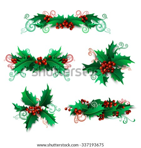 Vector set of holly berries design elements. Christmas page decorations and dividers isolated on white background. Can be used for your Christmas invitations or congratulations. - stock vector