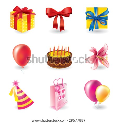 Vector set of holyday objects - stock vector