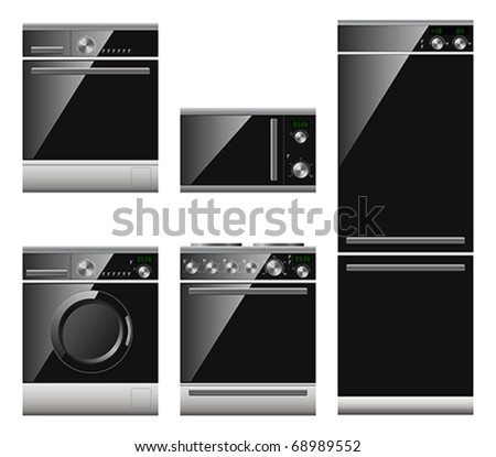 Vector set of home appliances including microwave fridge dishwasher washing machine and stove - stock vector