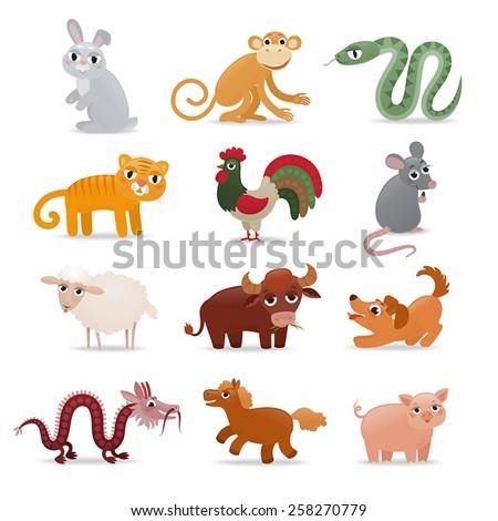 vector set of horoscope symbols - animals in cartoon style - stock vector