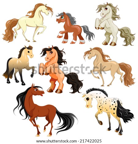 vector set of horses in motion - stock vector
