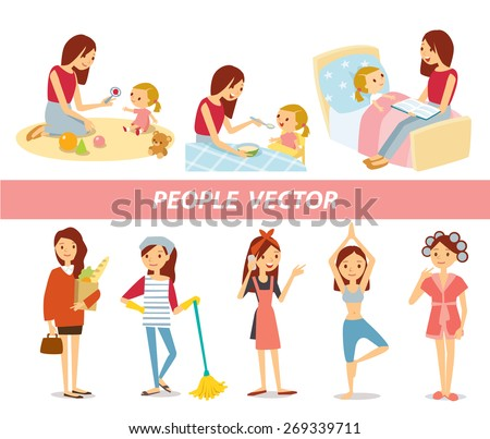 vector set of house keeping and baby care - stock vector
