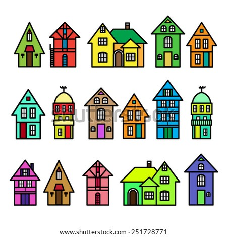 Vector set of houses
