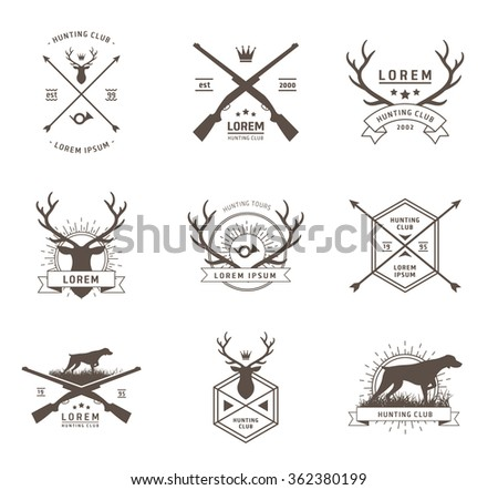 Vector set of hunting labels - stock vector