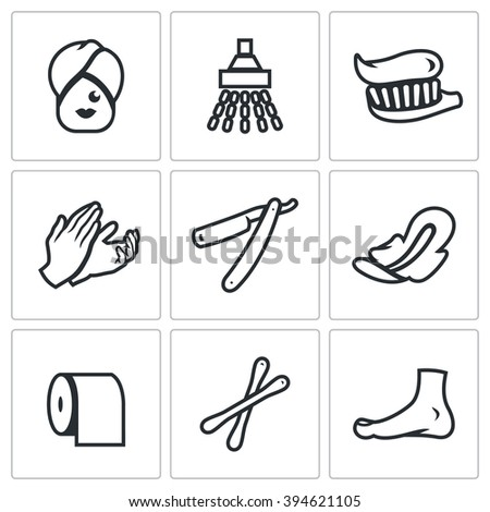 Vector Set of Hygiene Icons. Woman, Shower, Teeth cleaning, Massage, Shaving, Feminine Pads, Toilet, Cosmetic, Pedicure. Female care of his body isolated symbols - stock vector