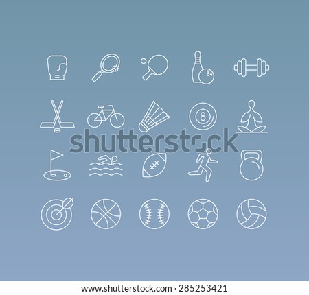 Vector set of 20 icons and sign in mono line style - concepts related to sport and healthy lifestyle, team games and competitions - stock vector