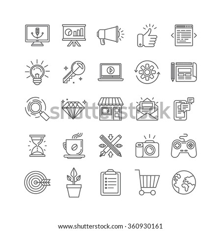 Vector set of 25 icons and signs in mono line style - graphic design, online marketing, branding and website development, internet business pictograms - stock vector