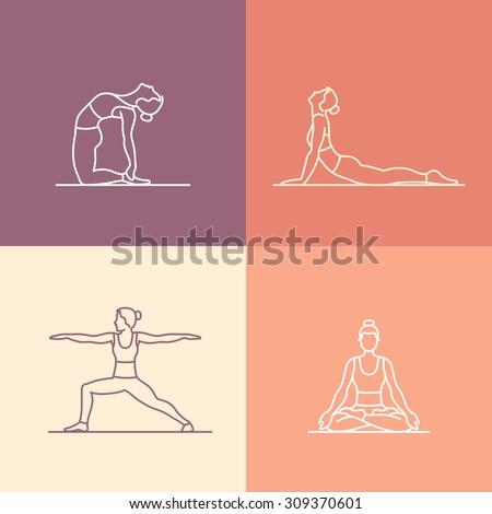 Vector set of icons and signs in trendy linear style - yoga poses and asanas - woman practicing yoga - stock vector