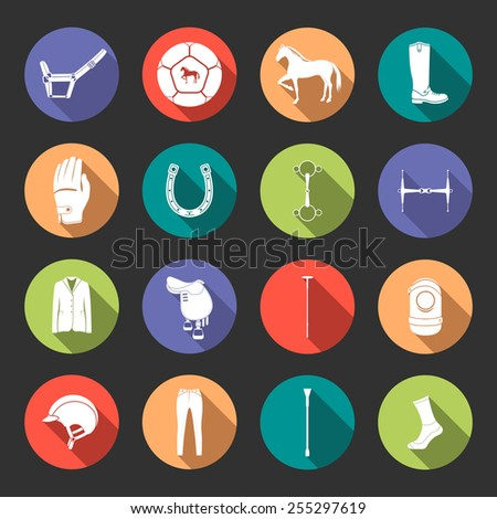 Vector set of icons and symbols for sports games polo. Icons of horses and equipment player - stock vector. - stock vector