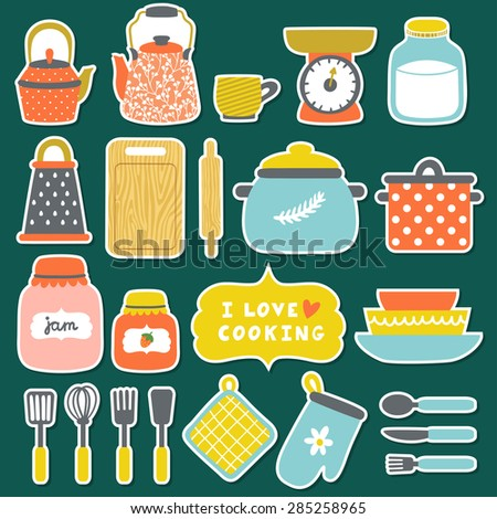 Vector set of icons.Different kitchenware: pans, jars with jam, milk, grater, dishes, cup, teapot, kettle, kitchen scale, rolling pin, spoon, fork, knife, cutting board. Hand drawing cooking elements. - stock vector