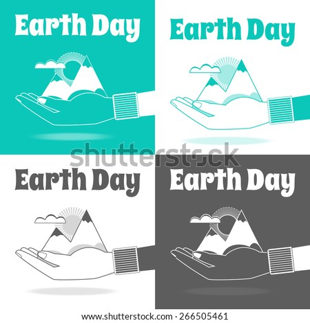 Vector set of icons. Earth Day vector Concept. Nature in human hands. Flat design. - stock vector