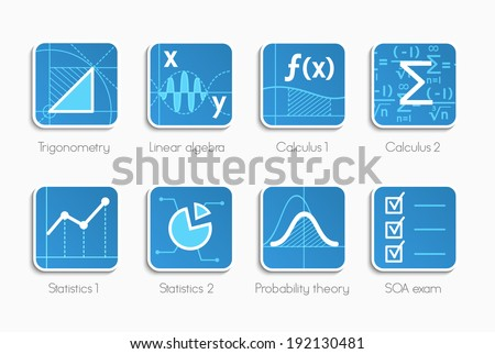 Vector set of icons for different direction of math - stock vector